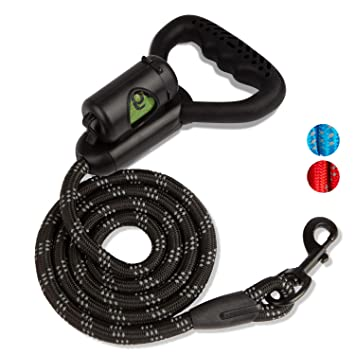 KUUBIA 5 FT Heavy Duty Reflective Dog Leash with Built-in Waste Bag Dispenser and Comfortable Silicone Padded Handle for Medium and Large Dogs – ...