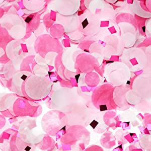 Round Tissue Paper Table Confetti Dots for Wedding Birthday Party Decoration, 1.76 oz (Pink Rose Red Confetti, 1.5cm plus 2.5cm)