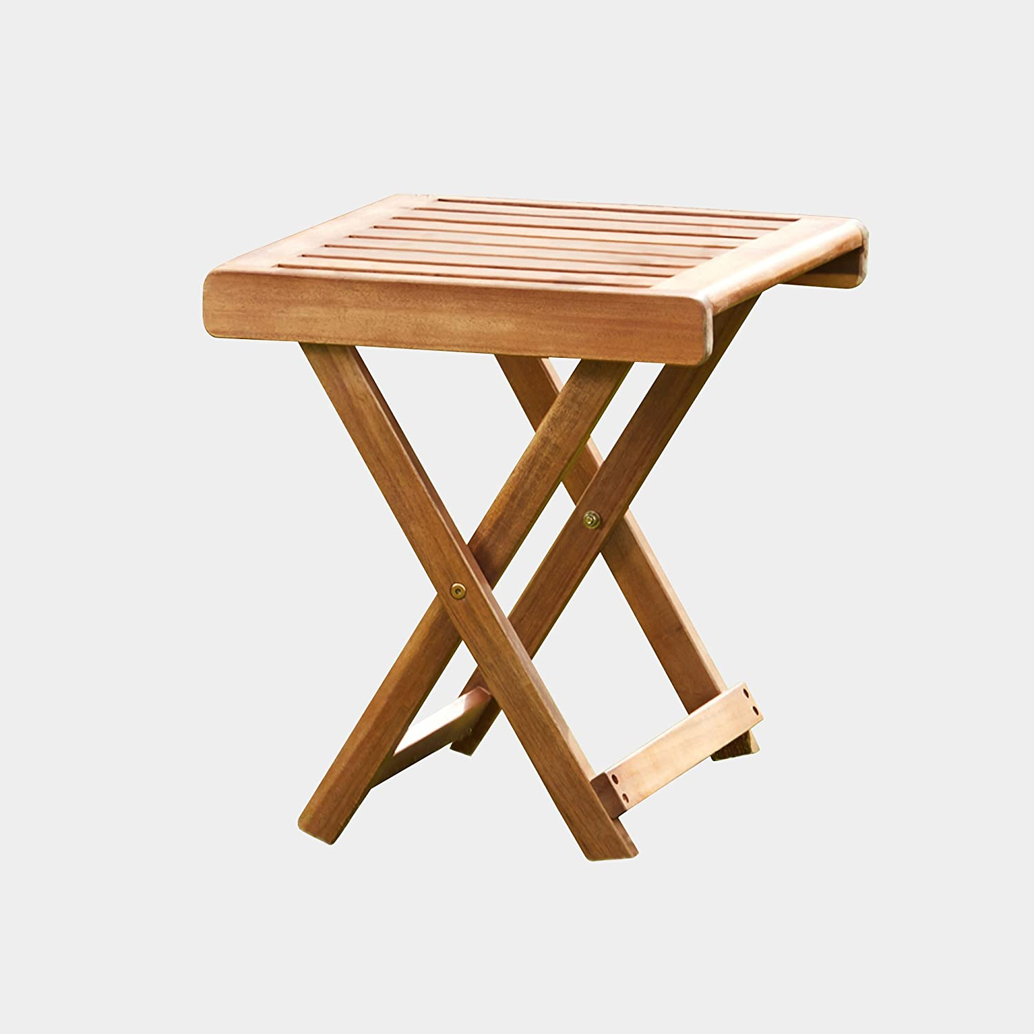 Thompson & Morgan Acacia Hardwood Folding Side Table Pre-Treated Garden Furniture (Acacia Folding Side Table) Clifford James