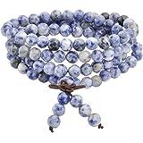 Jovivi 6mm Bleu-Sodalite Perles Naturels Collier OU Bracelet Multi-Cercles Tibétain Bouddhiste Buddha Mala Chinois Élastique Homme,Femme
