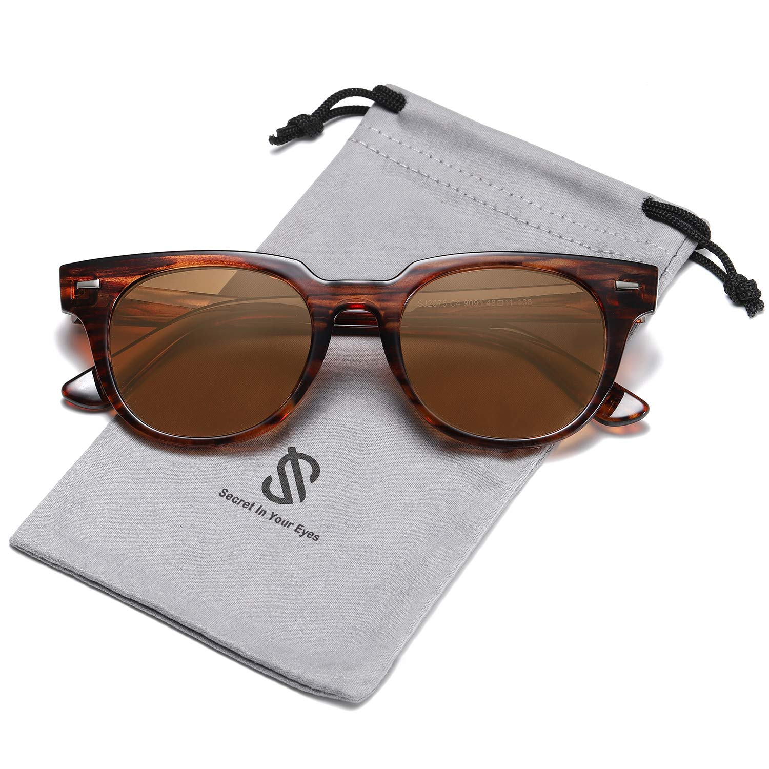 SOJOS Square Polarized Sunglasses for Men and Women MEMORIES SJ2075 with Brown Frame/Brown Polarized Lens by SOJOS