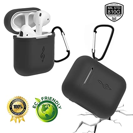 more photos 3a485 3b3e9 For Apple AirPods Case(The Top Cover Fits Well),Silicone Shock Proof  Protective AirPods Cover, One comes with Keychain AirPods Case for AirPods  ...