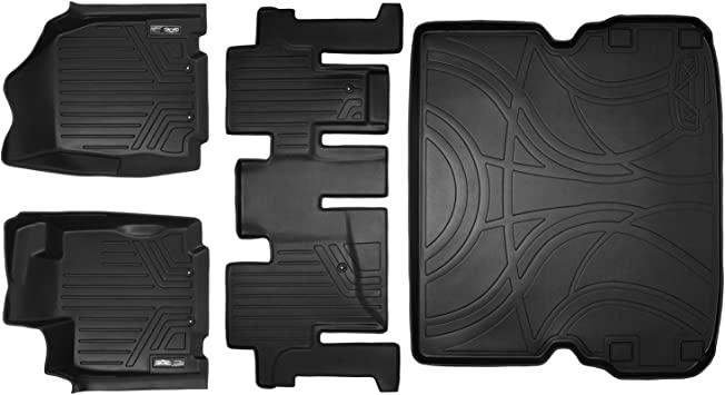 2013 JX35 SMARTLINER Floor Mats 3 Rows and Cargo Liner Behind 2nd Row Set Black for 2013-2018 Pathfinder 2014-2019 QX60