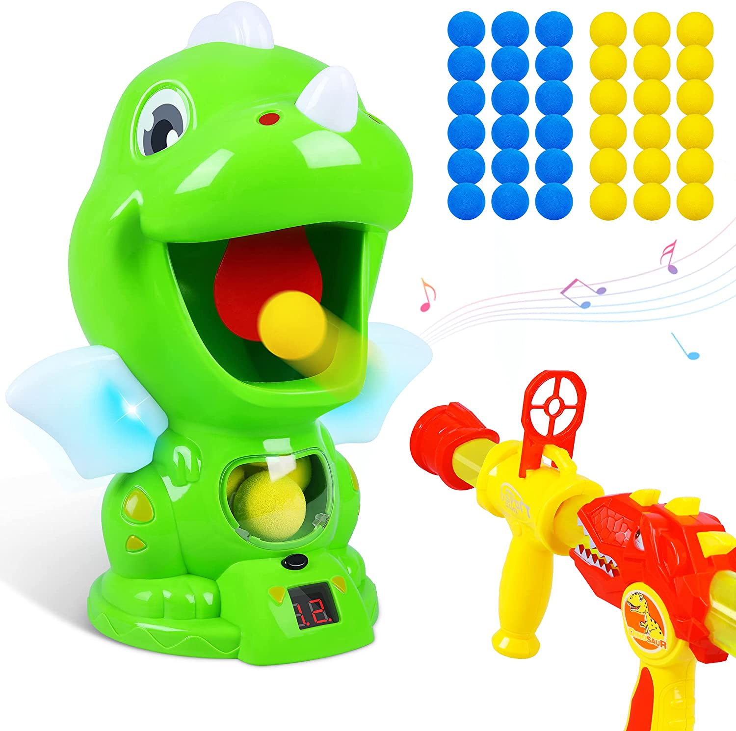 CUKU Dinosaur Toys Shooting Target Toy Gun for Kids-Air Pump Shooting Game with 36 Foam Balls,Voice and LED Score Record, Indoor Outdoor Gifts for 5 6 7 8 9 10 11 12 Years Old Boys Girls