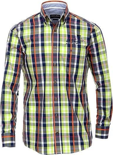 Casa Moda XXL Camisa de Manga Larga a Cuadros Azul-Verde ...