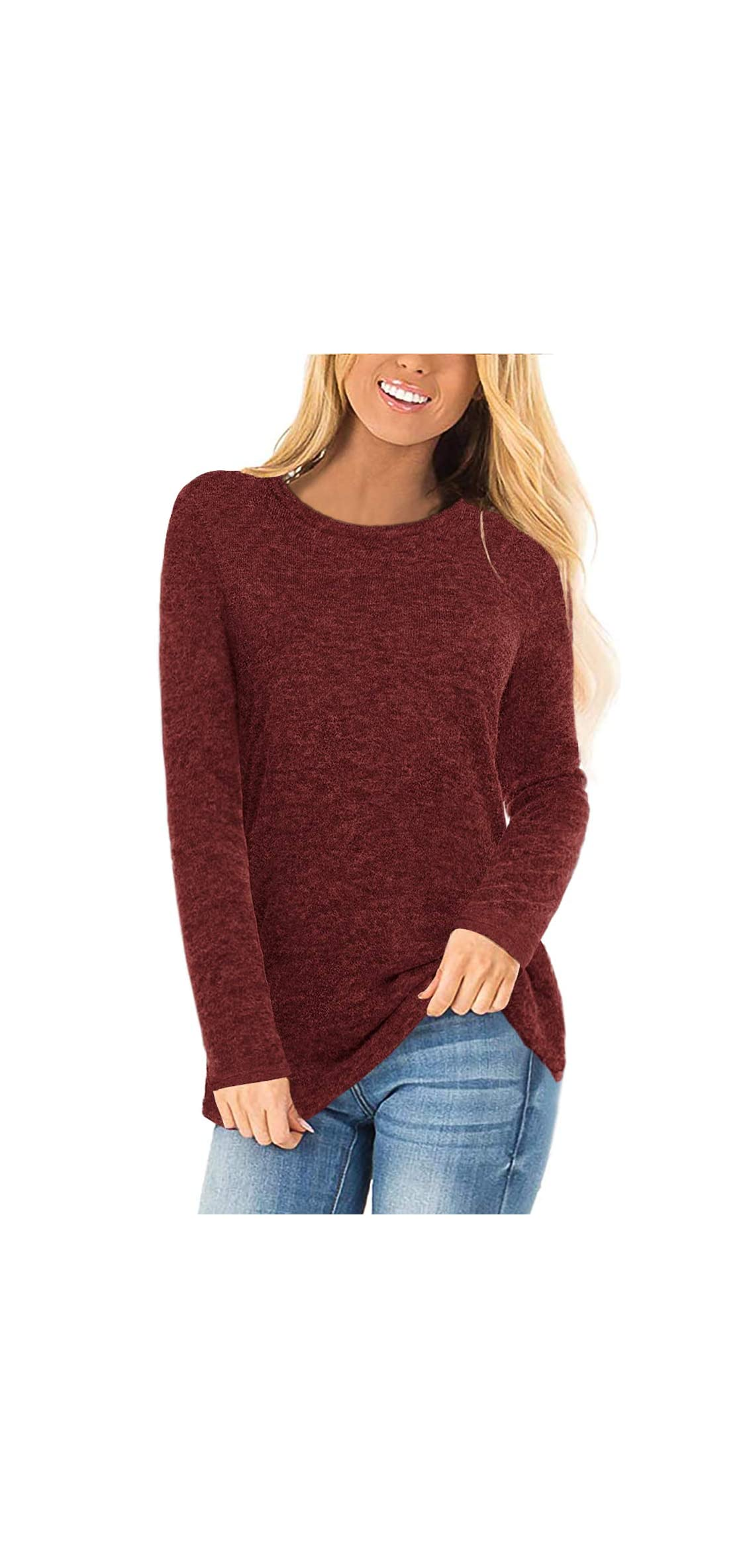 Womens Long Sleeve Crewneck Sweaters Casual Solid Tops