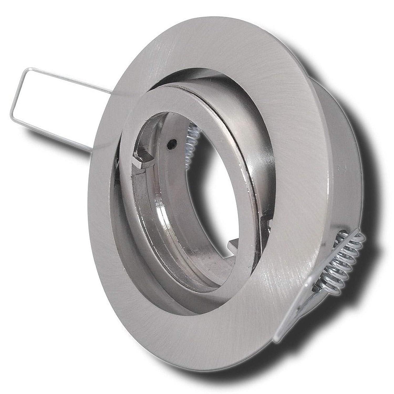 8 Stück Decken Einbaustrahler Laura 230 Volt Ohne Leuchtmittel Schwenkbar inkl. Stromfassung GU10 Edelstahl geb.