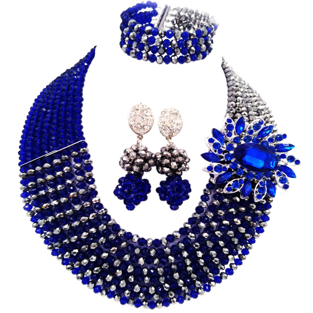 laanc Jewelry 8 Rows Royal Blue Multicolor Gradient Crystal African Beads Nigerian Wedding Jewelry Sets (Royal Blue Silver) by laanc