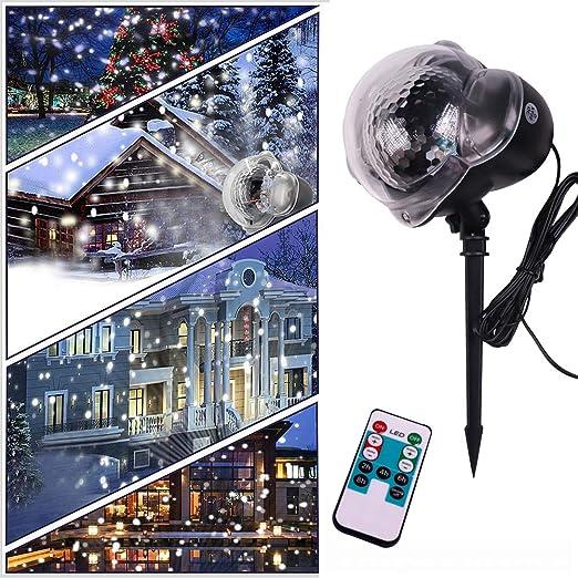 Proyector Luces para Navidad, LED Copo De Nieve Proyector Luces ...