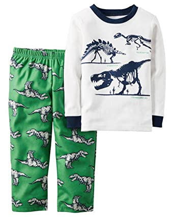 80c447269a61 Amazon.com  Toddler Boy s 3T DINOSAUR Skeleton Pajama Top Flannel ...