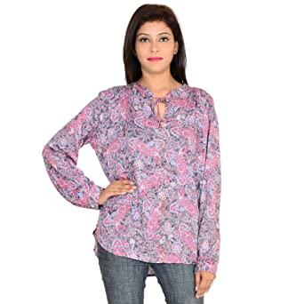 GOODWILL Casual Printed Full Sleeve Multicolor Rayon Top Women's Tops