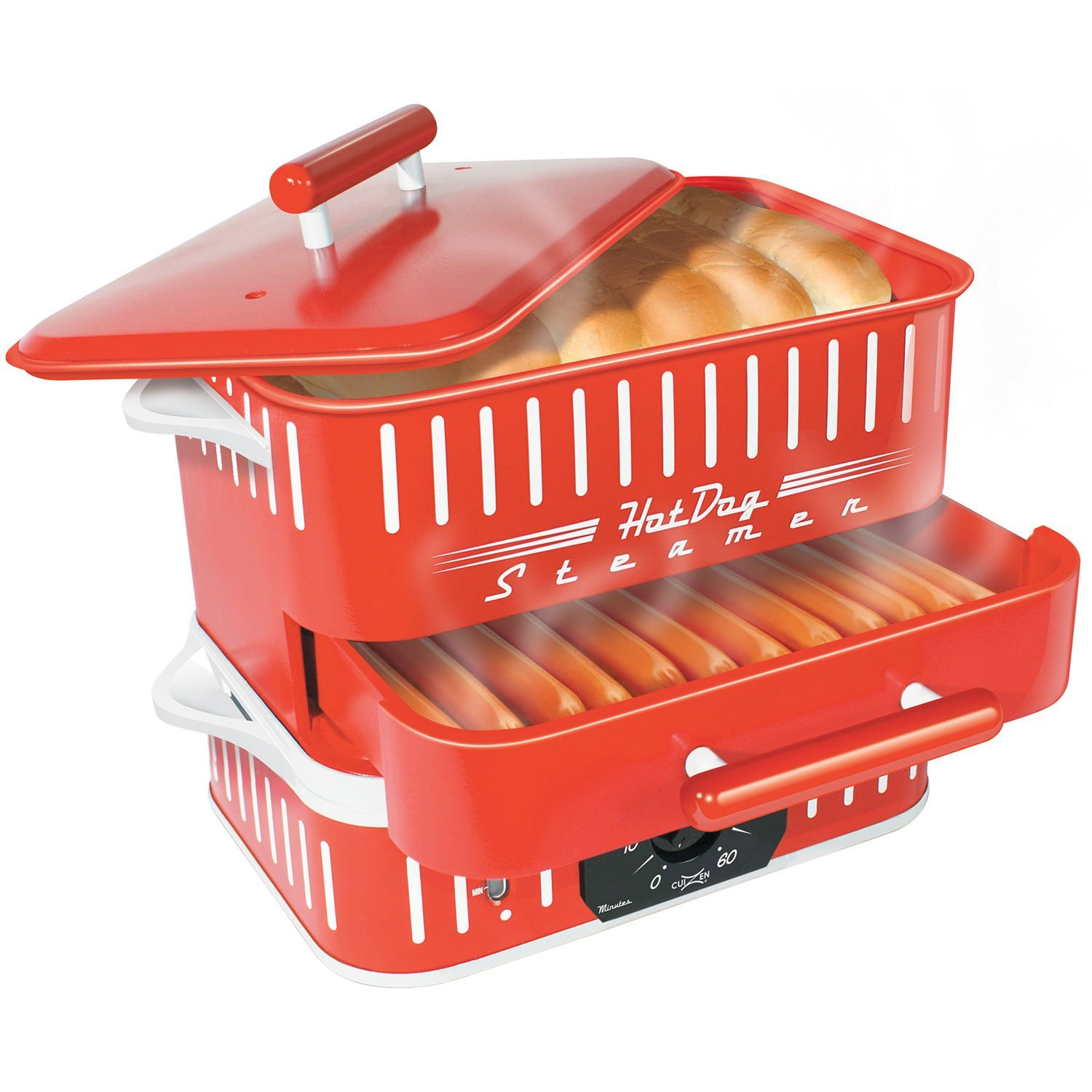 Cuizen CST-1412B Retro Hot Dog Steamer, Red