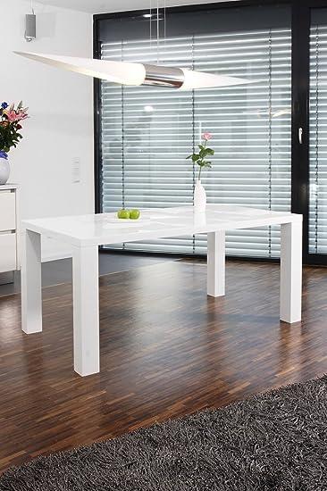 Ess-Tisch weiß Hochglanz aus MDF 180x90cm recht-eckig | Luca ...