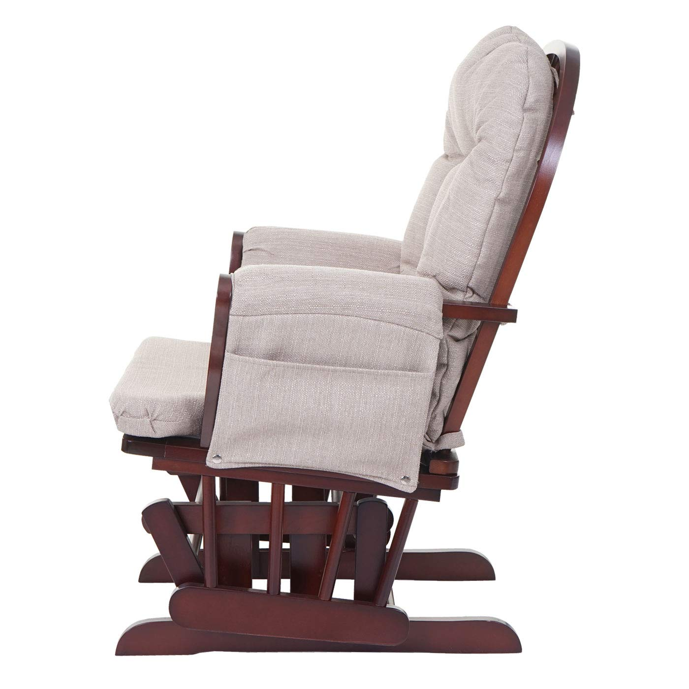 Mendler Relaxsessel HWC-C76 Stoff//Textil ~ Creme-grau Schaukelstuhl Stillstuhl Sessel Schwingstuhl Schwingsessel mit Hocker