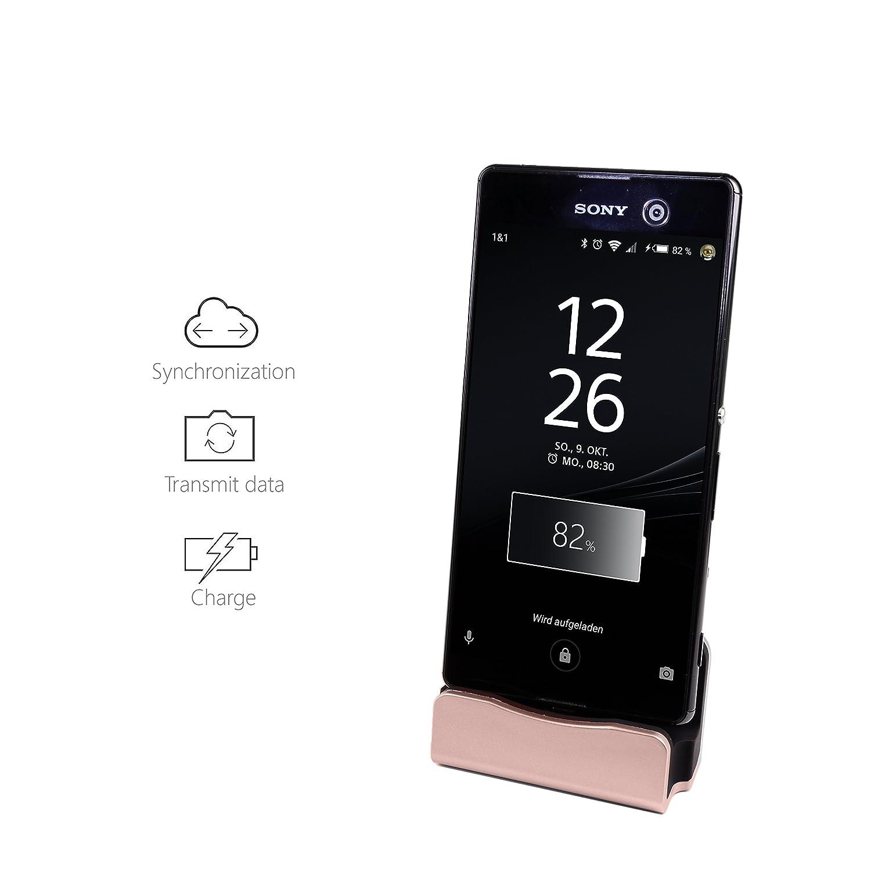 Samsung Galaxy S7 S6 1m Kabel Edge Micro USB Gold Stand Dock f/ür z.B Huawei f/ür Android Smartphones inkl MyGadget Dockingstation Ladestation