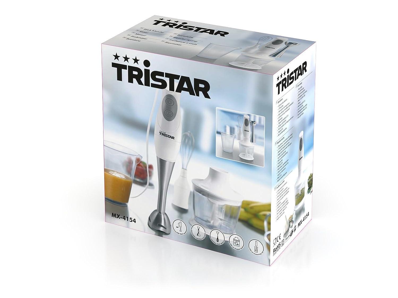 TriStar Set Batidora de Mano MX-4154, Acero Inoxidable, Blanco-Licuadora, 200 W, 0.5 litros, Plástico, 2 Velocidades: Amazon.es: Hogar