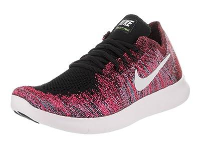 NIKE Women's Free RN Flyknit 2017 Black/White Racer Pink Running Shoe 10 Women US