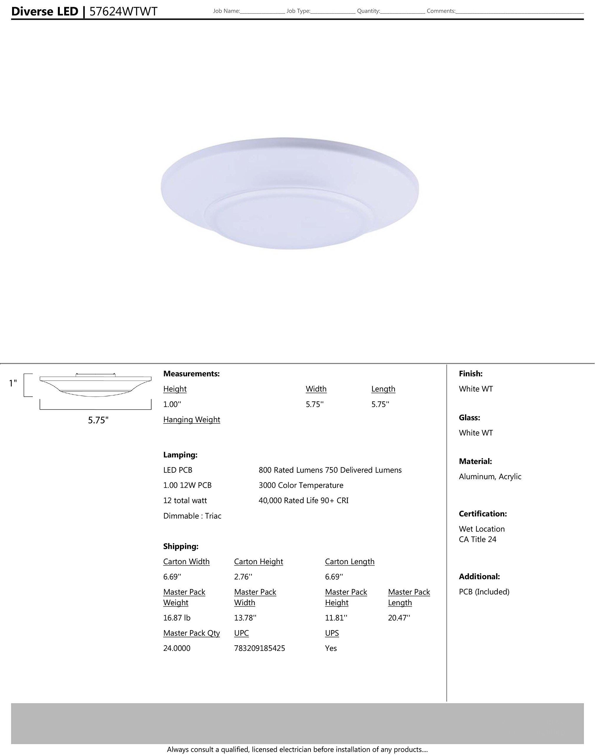 Maxim 57624WTWT Diverse LED Mini Flush Mount 3000K, White Finish, White Glass, PCB LED Bulb , 20W Max., Dry Safety Rating, 2700/3200K Color Temp, ELV Dimmable, Shade Material, 1400 Rated Lumens by Maxim Lighting (Image #2)