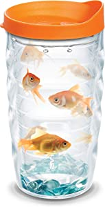 Tervis Goldfish Insulated Tumbler with Wrap and Orange Lid, 10 oz, Clear