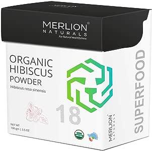 Organic Hibiscus Petals Powder by Merlion Naturals | Hibiscus rosa sinensis | 100gm/ 3.5OZ | USDA NOP Certified 100% Organic