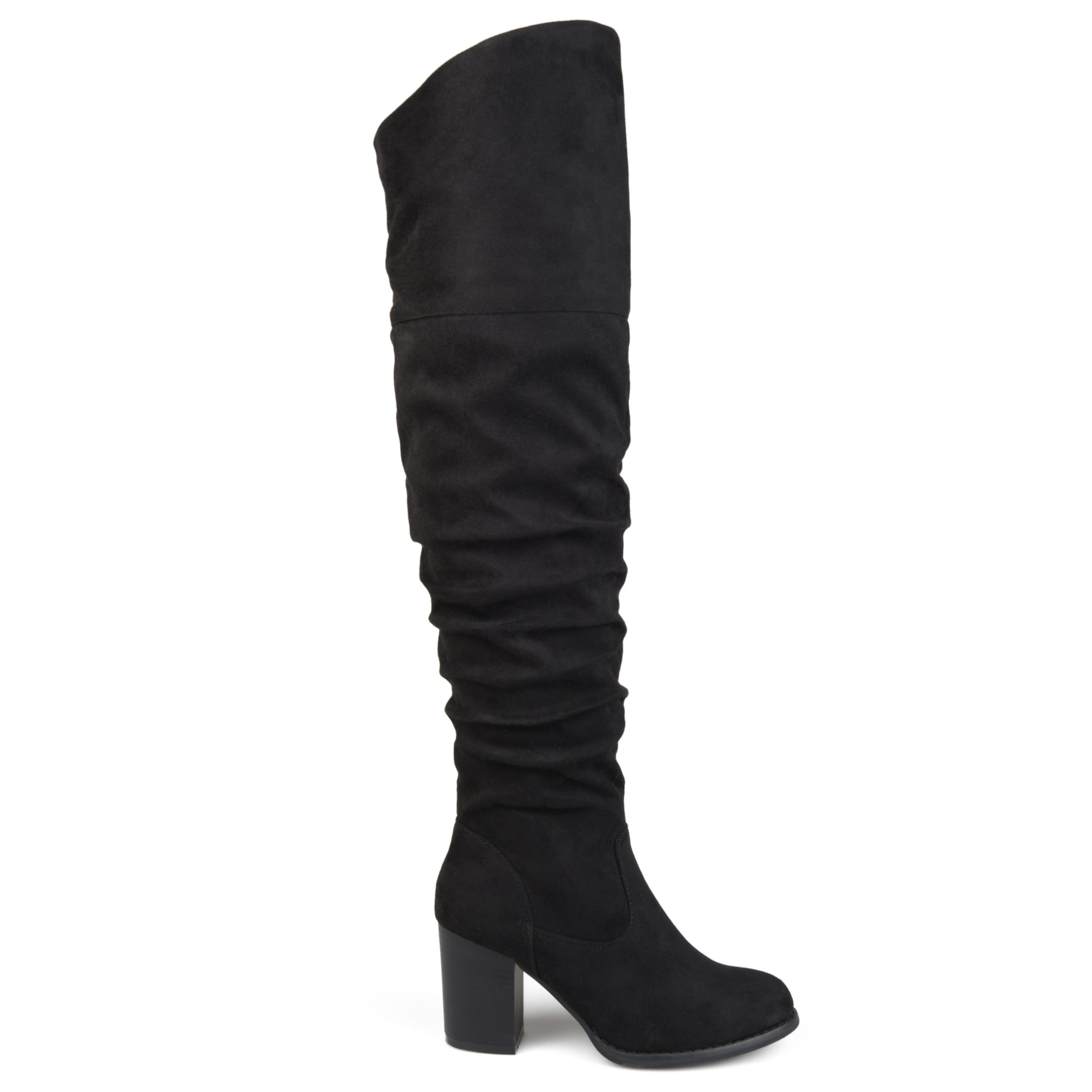 Brinley Co Womens Regular Wide Calf and Extra Wide Calf Ruched Stacked Heel Faux Suede Over-The-Knee Boots Black, 9 Wide Calf US