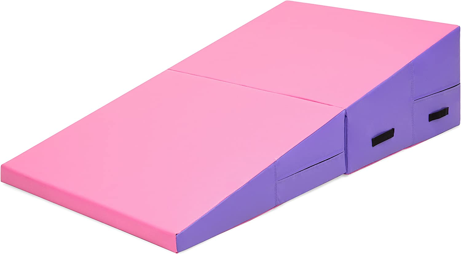 Best Choice Products 71x30x14in Kids Folding 2-Panel Cheese Wedge Incline Gym Mat for Tumbling with Handles