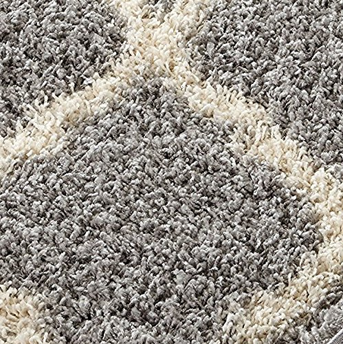 Sweet Home Stores Cozy Shag Collection Moroccan Trellis Design Shag Rug Contemporary Living & Bedroom Soft Shaggy Area Rug, Grey & Cream, 94'' L x 118'' W by Sweet Home Stores (Image #1)