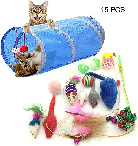 PietyPet Juguetes para Gatos, 15 Piezas Juguetes Gatos, Juguete ...