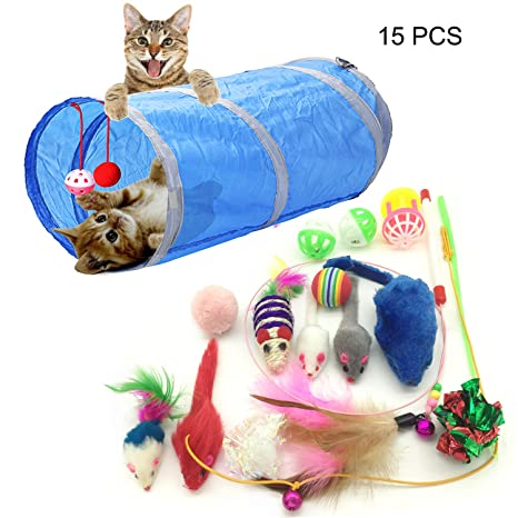 PietyPet Juguetes para Gatos, 15 Piezas Juguetes Gatos, Juguete Interactivo para Gatos Kitty