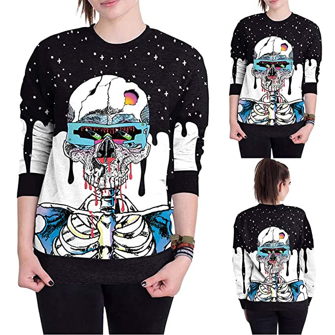 6b6aecdbf171de Styledresser Felpe da Donna,T Shirt Donna Divertenti,Felpa con Maniche  Lunghe da Donna 3D Skar Halloween: Amazon.it: Abbigliamento