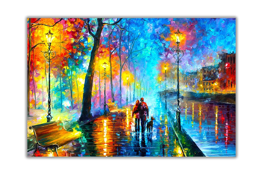 AT54378D: Melody Of The Night By Leonid Afremov Wall Decoration Abstract Poster Prints Oil Painting Re-Prints Size A3 (29.7cm x 42cm) Canvas It Up
