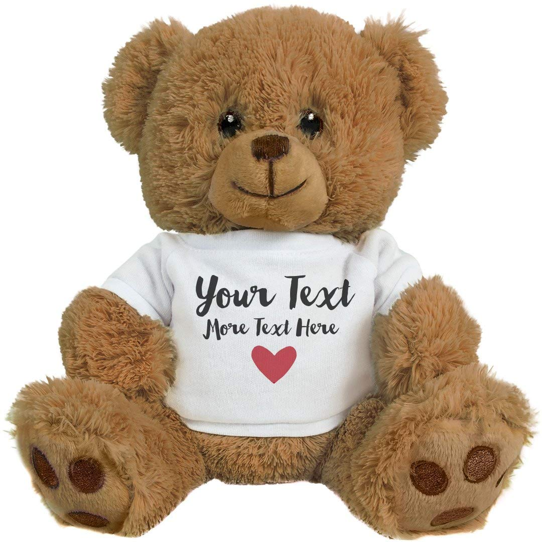 Romantic Custom Teddy Bear Gift: 8 Inch Teddy Bear Stuffed Animal by Customized Girl