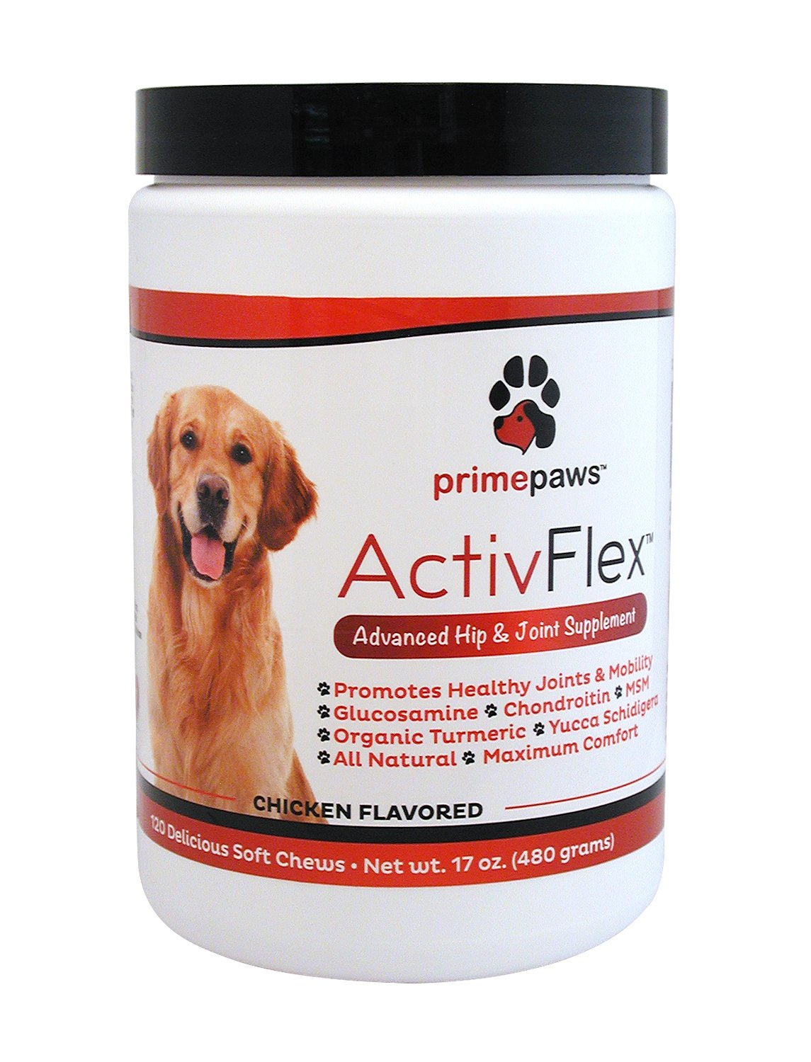 ActivFlex Glucosamine for Dogs Arthritis Pain Relief ~ All Natural Advanced Hip + Joint Supplement ~ Chondroitin, MSM, Organic Turmeric ~ Improves Pet Mobility ~ 120 Soft Chew Dog Treats ~ Made in USA