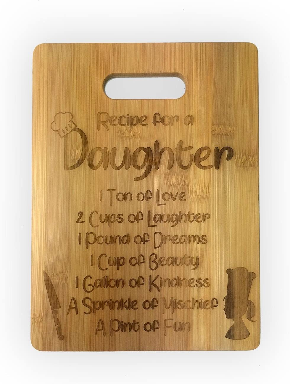 Recipe for a Daughter or Son Cute Funny Laser Engraved Bamboo Cutting Board - Wedding, Housewarming, Anniversary, Birthday, Mother's Day, Gift For Him, For Her, For Boys, For Girls,For Them (Daughter)