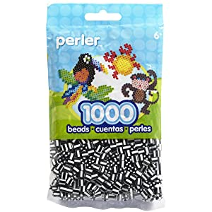 Perler Beads Fuse Beads for Crafts, 1000pcs, Striped Black and White