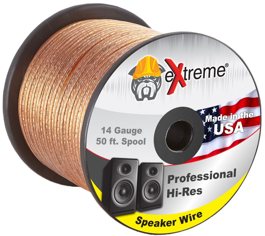 Professional Grade 14 Gauge Speaker Cable – Pure Stranded Copper Speaker Wire in 100 Feet for Car Audio, Home Theater Systems, Radio Speakers, Any Audio Application by eXtreme Consumer Products by Extreme Consumer Products