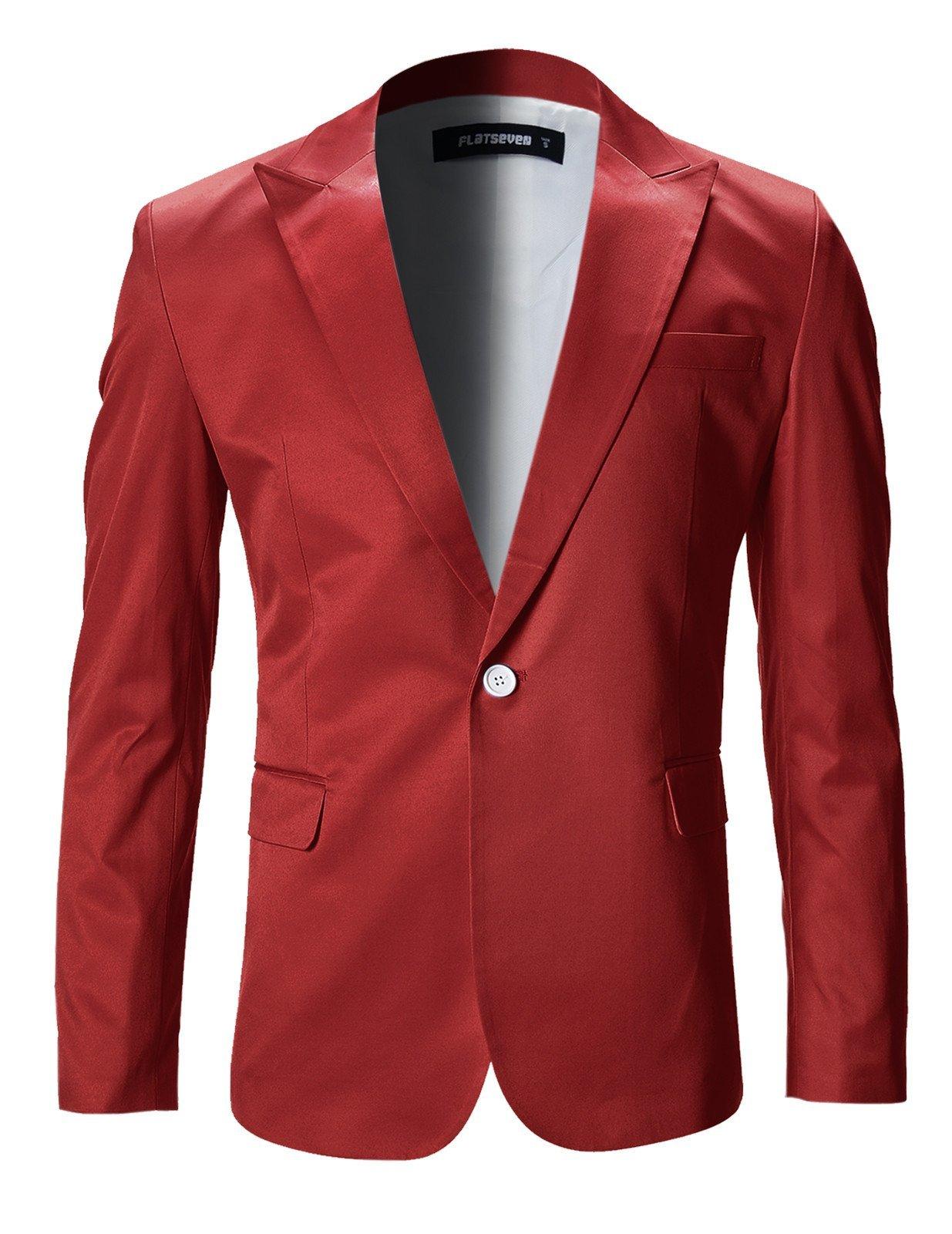 FLATSEVEN Mens Slim Fit Stylish Peaked Lapel Blazer Jacket (BJ200) Red, XS