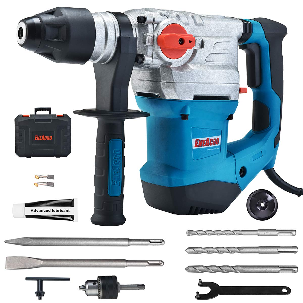 ENEACRO 1-1/4 Inch SDS-Plus 12 Amp Heavy Duty Rotary Hammer Drill, Safety Clutch 4 Functions with Vibration Control Including Grease, Chisels and Drill Chuck with Case