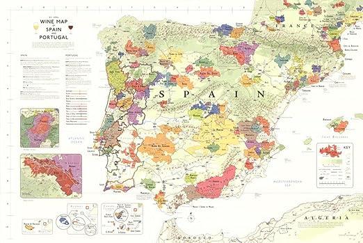 24 x 36) de largo Iberia De vino mapa (España y Portugal) Póster: Amazon.es: Hogar