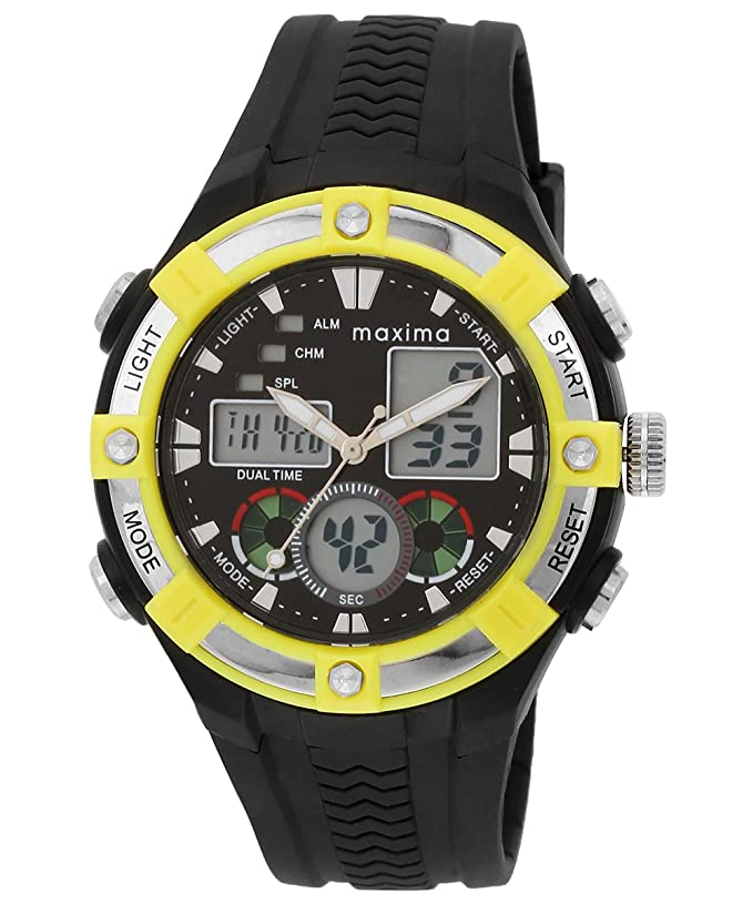 attivo leather watches dial image to explore gold maxima black by over zoom watch buy steel this gents hover look