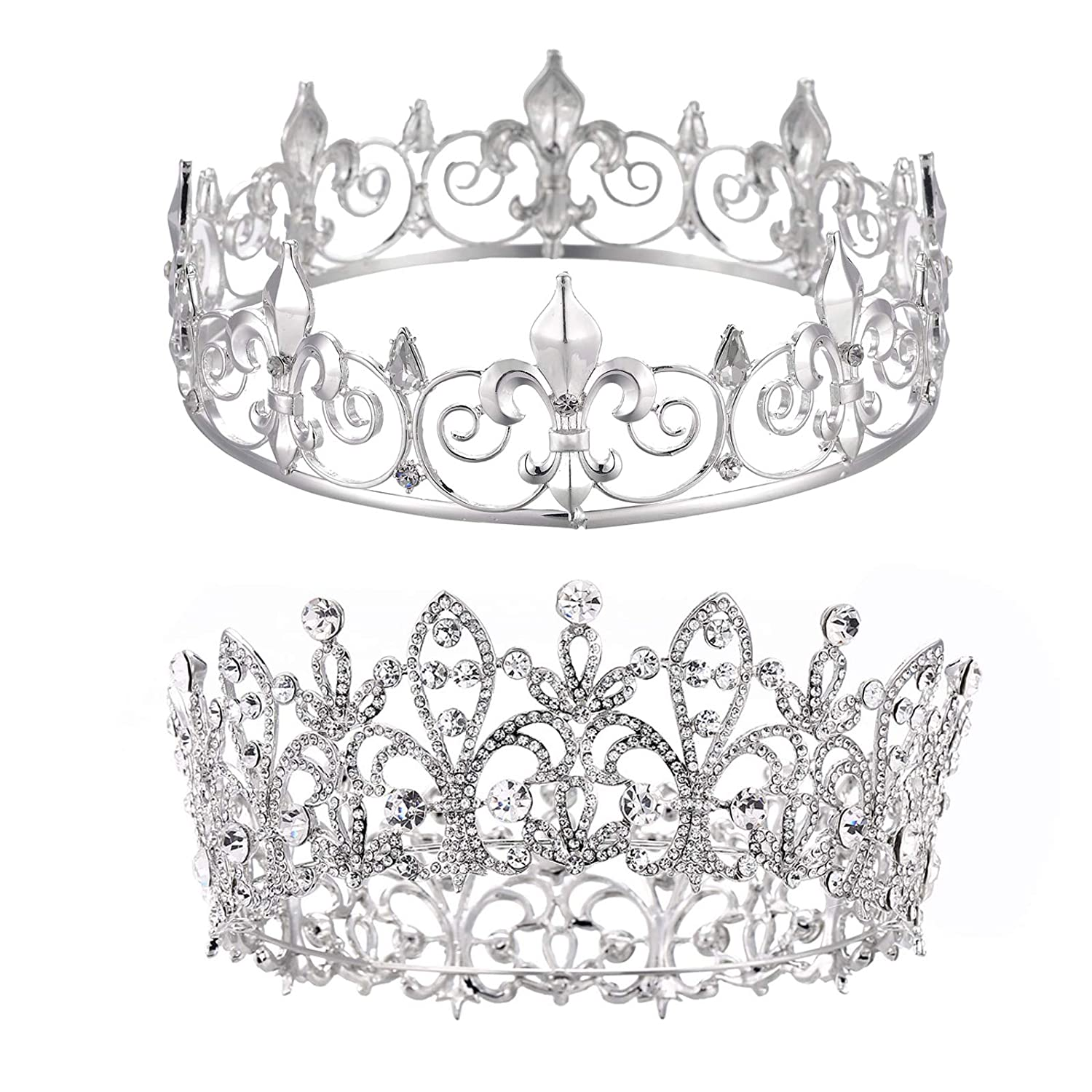 Eseres Silver King & Queen Crowns for Prom Birthday Homecoming Wedding Bride Crown