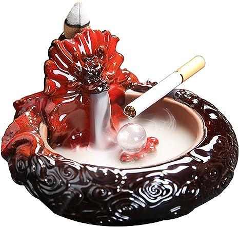 Amazon Com Hongyun Ceramic For Ashtray Dragon Backflow Incense Burner Waterfall Incense Burner For Ashtray Home Ornaments Outdoor Gift Red Home Kitchen