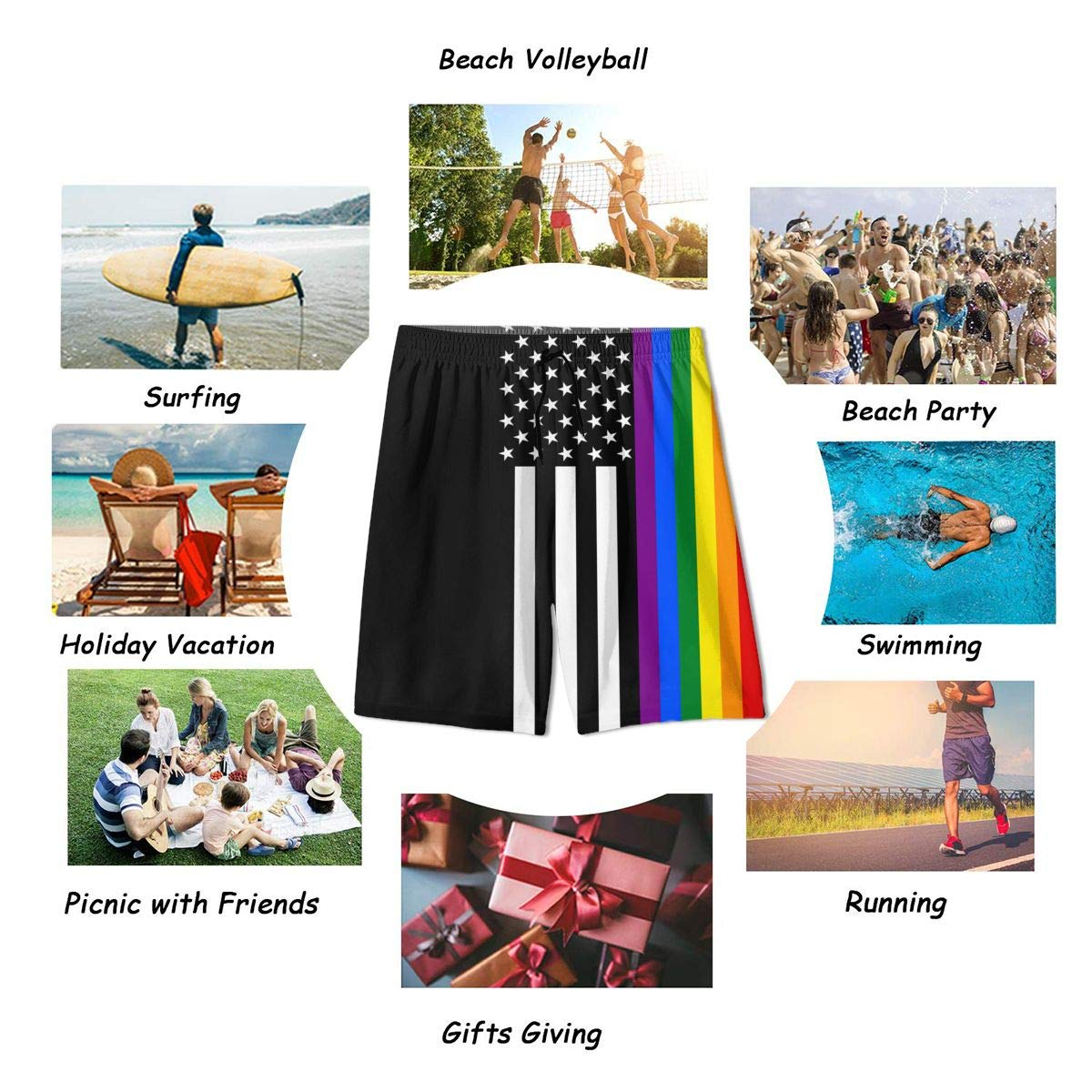 Mens Summer LGBT Rainbow Flag USA Quick Dry Volleyball Beach Shorts Swim Shorts Board Shorts