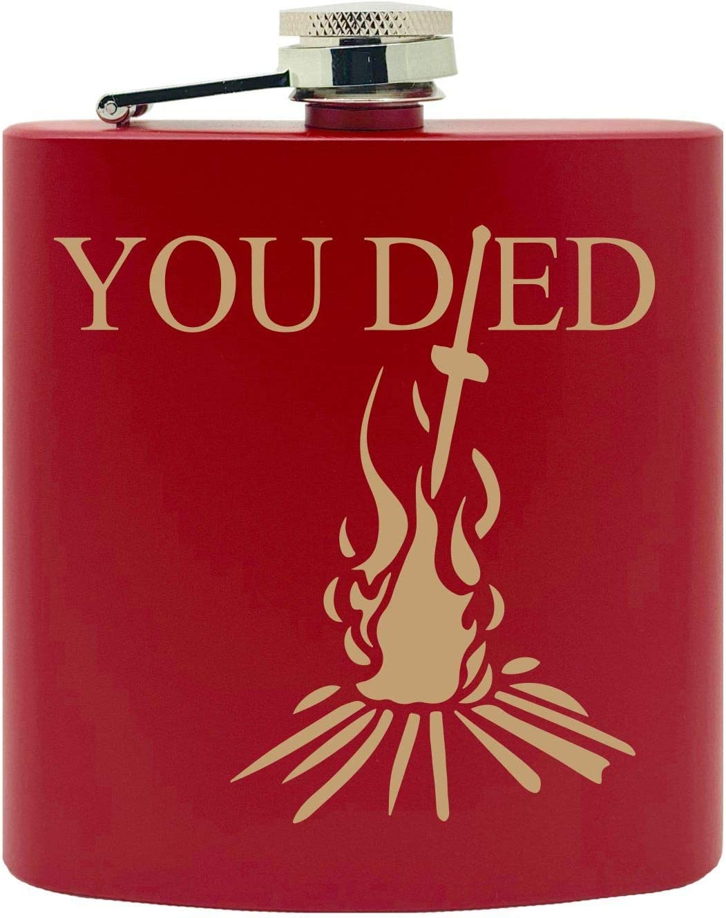 6 Oz Black You Died Video Game Souls of the Dark Gold Bonfire Design Custom Printed Stainless Steel Alcohol Hip Flask