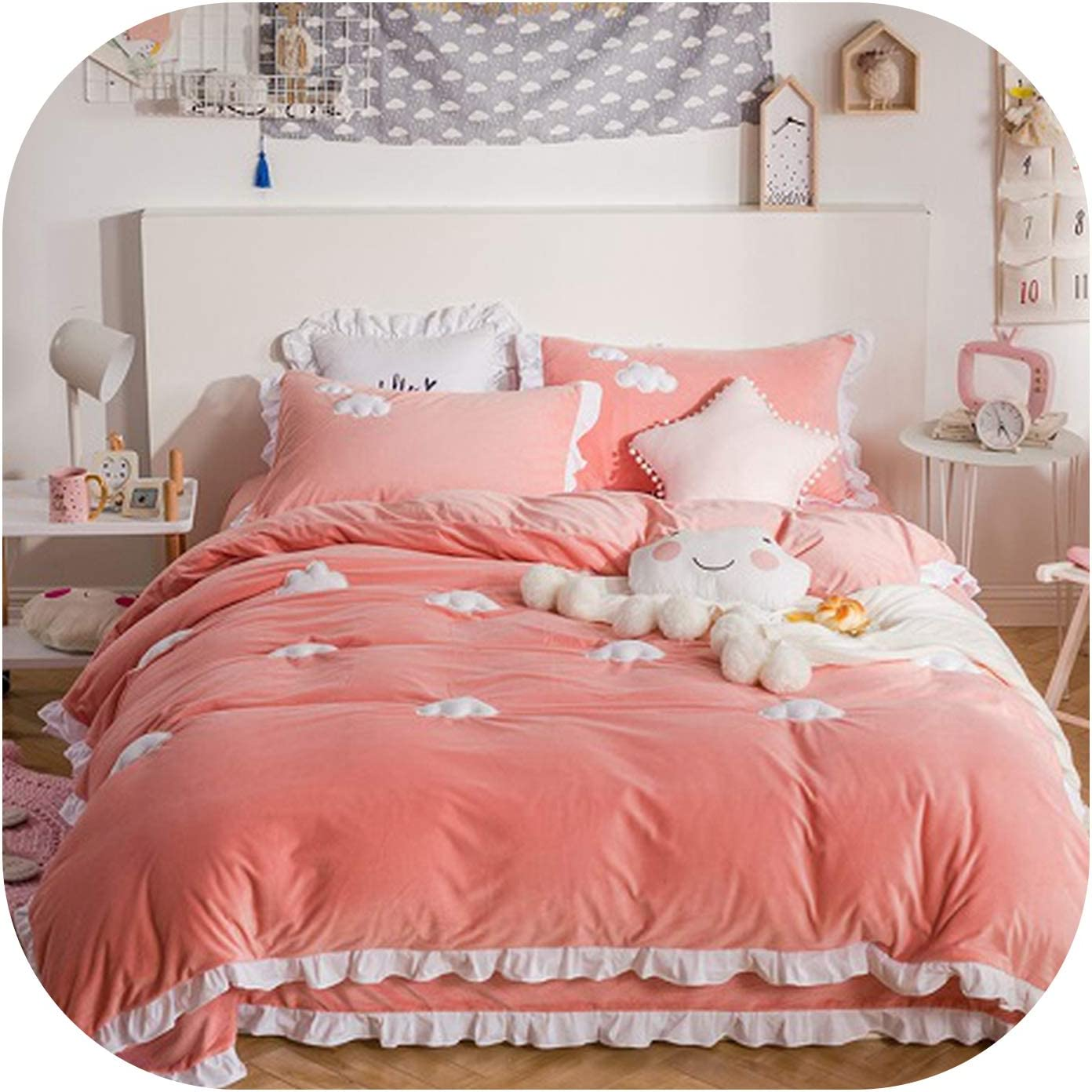 Blue Pink Thick Fleece Winter Cute Bedding Set King Queen Twin Size Kids Girls Bed Set Bedsheet Clouds Duvet Cover Pillowcase Bedding Set 2 Twin 3pcs Home Kitchen