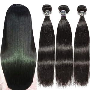 Malaysian Straight Virgin Human Hair - 3 Bundles (16 18 20,300g) 100% Unprocessed 1B Color 9A Malaysian Straight Hair Weave Bundles Yuyongtai Remy Straight Human Hair Extensions