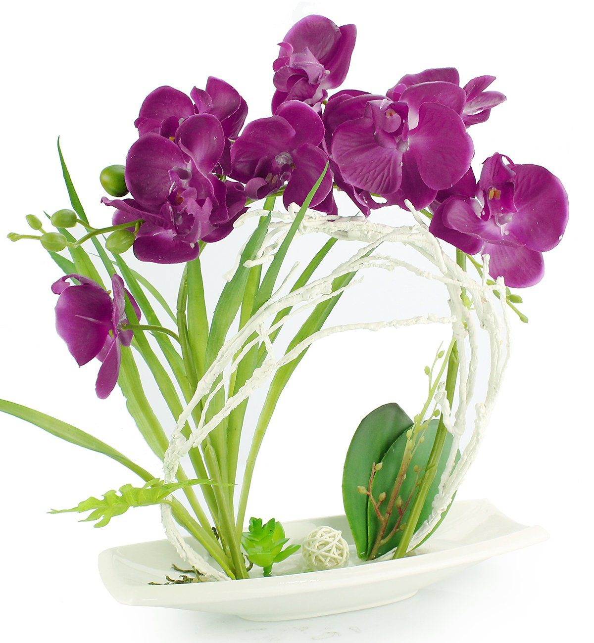 Buy Potted Silk Orchid Artificial Flower Arrangements With White Vase Fake Bonsai Centerpiece Table Decoration With Fake Water And Stone In Vase Purple Online At Low Prices In India Amazon In