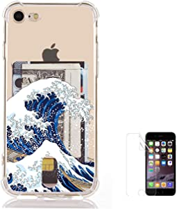 """Oddss Japanese Wave Case Compatible for iPhone 8/7(4.7"""") with Card Holder Slot Slim Flexible TPU Clear Cover Compatile iPhone 8/7 with Soft Screen Protector"""