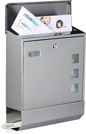 320 x 450 x 100 mm Antracita LZQ Estilo moderno Buz/ón de Acero Inoxidable Buz/ón de Exterior ara cartas y correo postal con el peri/ódico rollo Bloqueable 2 Llaves