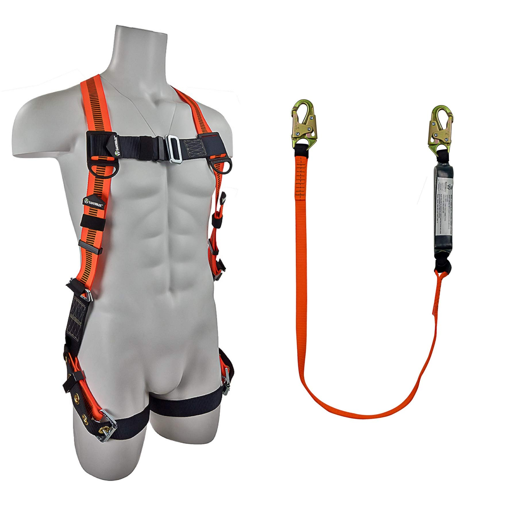 SafeWaze Fall Protection Safety Harness/Lanyard Combo - Universal Fit Harness with Grommet Legs and Single D-Ring - 6' Shock Absorbing Lanyard with Snap Hooks (FS99185-E / FS88560-E)